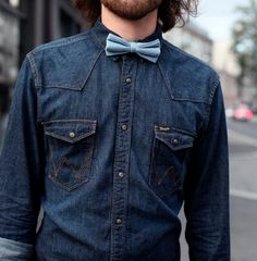 Wrangler western snap shirt and chambray bow tie.  Posted in #denimattack.  #bowtie #western #denim #snap