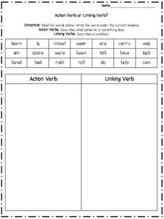 Study Action And Linking Verbs Worksheet 5th Grade Danasrhgtop ...