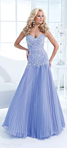 Tony Bowls Pleated Periwinkle Evening Gown