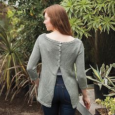 At first glance you'll love the modern styling of this pullover, until you see the unique back opening and subtle A-line shape. Then you'll fall head over heels for the Chilla pullover! Worked from the bottom up, the sweater is shown here with ¾ sleeves, but the pattern can easily adjust to full sleeves or a sleeveless version.
