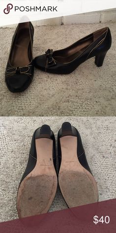 f474b91c00e19 Franco Sarto brown leather bow heels Oxford style heels with bow on ...