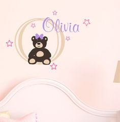 Baby Girl Name Wall Decal Teddy Bear Nursery Decor Vinyl Via Etsy