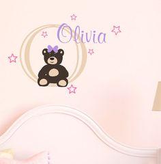 Baby Girl Name Wall Decal Teddy Bear Nursery Decor Vinyl via Etsy