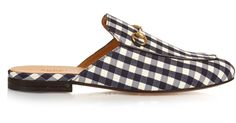 7e5e86041a0 Gucci - Black Princetown Gingham Backless Loafers