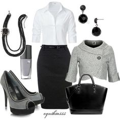 This is a classic outfit from the black pencil skirt, crisp white button down shirt, grey wool high heel pumps, simple black accessories but what makes this modern classic outfit pop is the grey half sleeve short tailored blazer - Perfect!