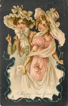two ladies dressed in pastel colors, one to left carries lorgnette - TuckDB Postcards Holiday Postcards, Vintage Postcards, Vintage Ephemera, Vintage Labels, Vintage Cards, Vintage Pictures, Vintage Images, Victorian Pictures, Vintage Happy New Year