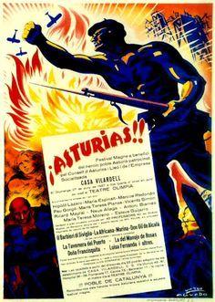 Spain - 1937. - GC - poster - Asturias!! Poble de Catalunya - autor - Vicente Aguado