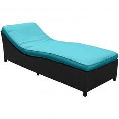 Espresso Turquoise Modern Surmount Chaise - Patio - Office/Patio