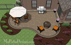 423 sf Curvy Patio Design with Fire Pit Area.