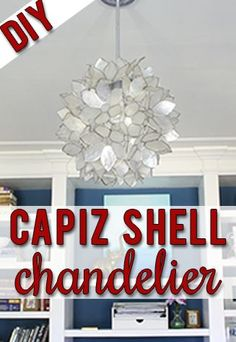 Make your own gorgeous chandelier just like the high-end capiz shell pendant lights!