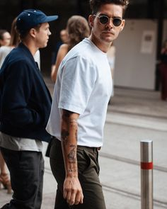 white tee tuesday. #whiteteetuesday #streetstyle #gilbertmelott #hombreUP #menwithstyle #inked #takewhatsyours