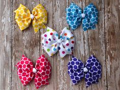 Hair Bow Set Baby Hair Bows Headband Set por MommysBowCreations