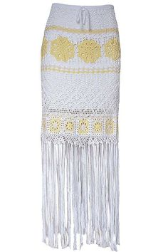 Handmade crochet skirt with fringe, fancy with flowers, certified yarn, white and yellow color (100% co makò) lined,  made in italy - regular fit Model is 1.77 mt and wear S