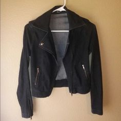 BLACK MOTO JACKET Size small. Has zipper sleeves. Only flaw is a few seam strings are lose but not unraveling! Picture above!! Forever 21 Jackets & Coats