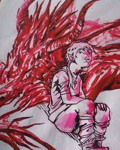 Part of a doodle I made last night to relax. I've been having some anxiety problems lately  #draw #drawing #traditionalart #traditional #illustration #art #purpleenma #instart #instartist #artwork #sketch #doodle #ink #red #jherbinink #jherbin #fantasy #dragon #boy #elf by purple_enma