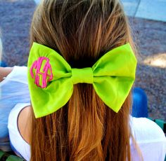 Monogrammed Hair Bow with Circle Monogram by HannahArielBows, $16.00