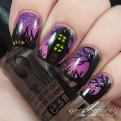 Haunted House Gradient Manicure   #nail #nails #manicure #mani #halloween #hauntedhouse #gradient