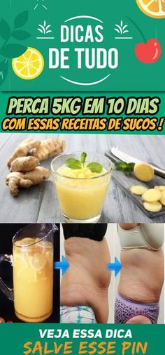 As 12 Receitas de Suco de Gengibre Para Secar 5kg em 10 Dias #emagrecer #sucos #barriga #gengibre