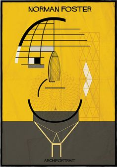 federico babina illustrates renowned architects in their own style // norman foster's 'gherkin' takes the place of the british architect's nose
