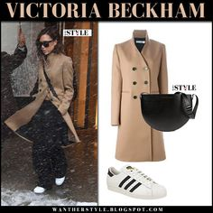 Victoria Beckham in camel coat and white sneakers adidas 80s superstar