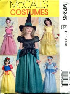 FREE US SHIP Sewing Pattern McCall's 245 Girls Disney Princess Witch costume Out of Print  Size 3-6 Toddler Uncut Size 3 4 5 6 by LanetzLivingPatterns on Etsy