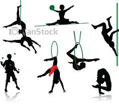 Vector. Clip art. Siluetas de artistas, acróbatas, malabaristas  del circo.