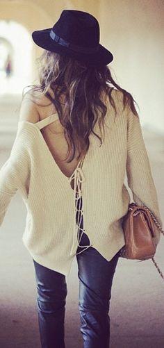 White Knit Boho Sweater