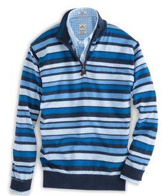 Peter Millar   Cotton-Cashmere Striped Quarter-Zip Sweater in Patriot Navy