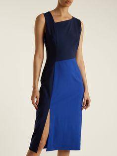 Click here to buy Diane Von Furstenberg Asymmetric-panelled wool-blend dress at MATCHESFASHION.COM