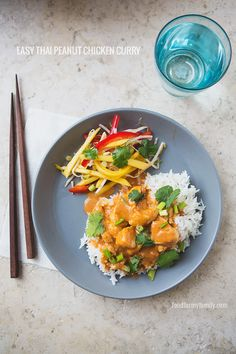 Easy Thai Peanut Chicken Curry #recipe via FoodforMyFamily.com