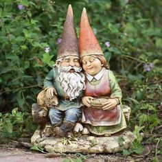 garden gnomes   gnome couple, gnome lover couple, loving gnome couple statues, papa ...