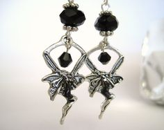 Items similar to Black Fairy Earrings - Gothic Fairy Jewelry Dark Fairy Silver Black Fantasy Crystal Earrings on Etsy Crystal Earrings, Drop Earrings, Black Fairy, Gothic Fairy, Fairy Jewelry, Fantasy, Clothes For Women, Crystals, Trending Outfits