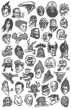 """I am well aware that some of these aren& exactly your typical villain (""""bad guy"""" would probably be a better word), but all . Ensemble of Villains Tattoo Flash Sheet, Tattoo Flash Art, Tatoo Art, Mini Tattoos, Body Art Tattoos, Small Tattoos, Tattoo Sketches, Tattoo Drawings, Art Drawings"""