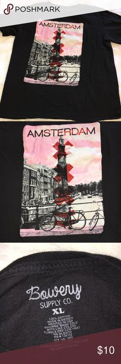 """BOWERY SUPPLY CO. XL MEN'S BLACK AMSTERDAM T-SHIRT BOWERY SUPPLY CO. """"AMSTERDAM"""" GRAPHIC SHORT SLEEVE TEE SHIRT. GOOD CONDITION. SOFT. BLACK MEN'S XL SHIRT. BUNDLE AND SAVE WITH OUR BOWERY LOS ANGELES TEE ALSO! Bowery Supply Co. Shirts Tees - Short Sleeve"""