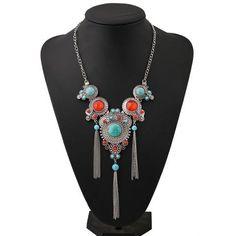 Ethnic Turquoise Tassel Necklace