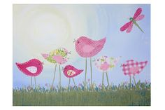 Bloomin' Mad flowers sells this cute little birdie Canvas wall art for your little girls room!