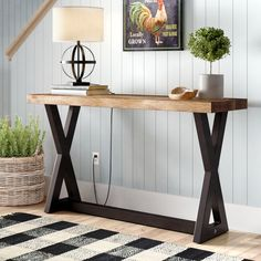 Clean lines pair with an understated design to give this handsome metal and wood console table a look that instantly elevates your well-appointed home Entrance Table, Entryway Tables, Wood Entry Table, Modern Sofa Table, Industrial Console Tables, Rustic Industrial, Bois Diy, Wood And Metal, Living Room Furniture