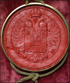 Seal attached to a German hand-written and illuminated manuscript belonging to Maria Theresa of Austria, 1769 Austrian Empire, Seal Logo, Plantagenet, Historical Artifacts, Iron Work, Family Crest, S Tattoo, Crests, Wax Seals