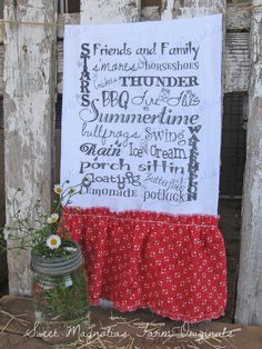 Flour Sack Kitchen Towel ~ NEW ~ Summer Sayings ~ Subway Art  Farmhouse Style  by SweetMagnoliasFarm, 16.00 sweet Magnolias Farm Design ©