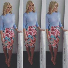 Holly Willoughby wears a floral skirt from Febb Wright Mason and blue top from Warehouse Holly Willoughby Outfits, Holly Willoughby Style, Business Casual Outfits, Professional Outfits, Stylish Outfits, Work Outfits, Womens Fashion For Work, Work Fashion, Fashion Outfits