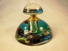 """Murano Style Perfume Bottle Underwater Scence  Screw on Top  2 1/4"""" Tall"""