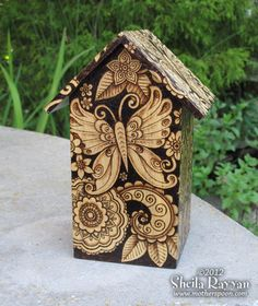 Butterfly Birdhouse Home Decor woodburning by MotherSpoon on Etsy