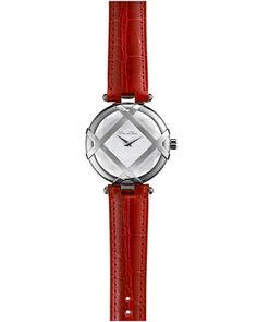 Stainless Steel Watch with Alligator Strap, Red by Oscar de la Renta at Bergdorf Goodman.
