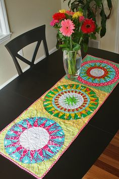 New York Beauty table topper at Freshly Pieced Modern Quilts