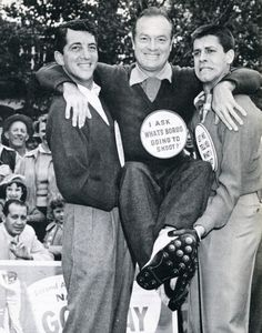 Dean Martin, Bob Hope, and Jerry Lewis at a golf benefit.