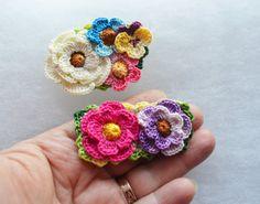Crochet flower brooch pin pansy pansies roses by FlowersbyIrene