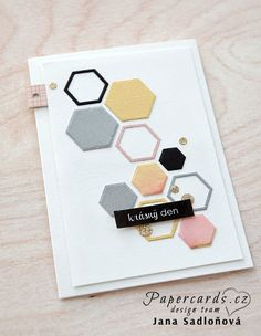 Ručně - s láskou: Papercards. Scrapbooking, Scrapbook Cards, Hexagon Cards, Card Making Templates, Diy And Crafts, Paper Crafts, Masculine Cards, Diy Gifts, Cardmaking