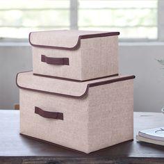 Хлопок И Лиене Ящик Для Хранения С Крышкой 2 Размер Одежды Носки Игрушки Закуски Метизы Oraganier Набор