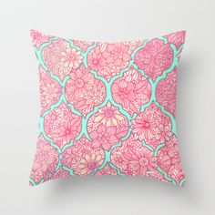 Moroccan Floral Lattice Arrangement in Pinks Throw Pillow