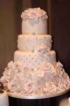 Wedding cake light pink roses by sherry